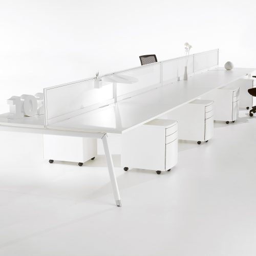 Long white office desking at angle on white background - Furniture photography