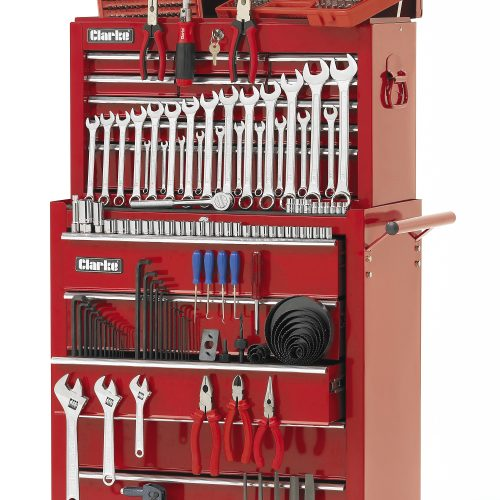 Clarke International Machine Mart Red tool chest, shot on white background - Industrial photography