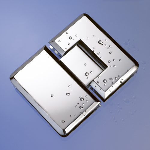 Chrome Hinge With Water Droplets - product photography