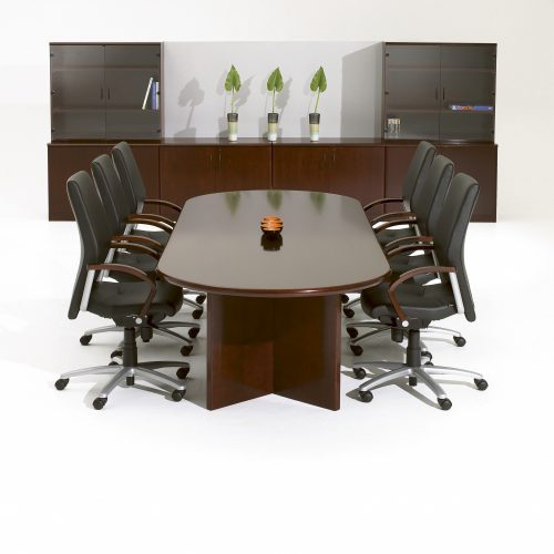 Dark wood conference table with black leather chairs and cupboards, studio shot - Furniture photography