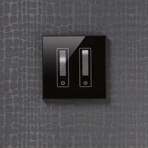 MK Honeywell double black gloss dimmer switch dark grey snakeskin texture wallpaper electrical photography