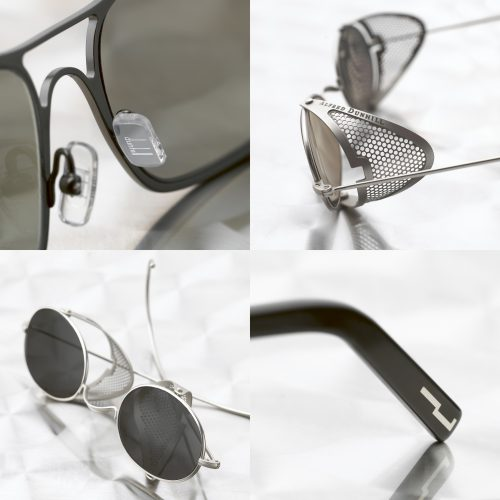 Close-up shots of Alfred Dunhill sunglasses black & white - product photography
