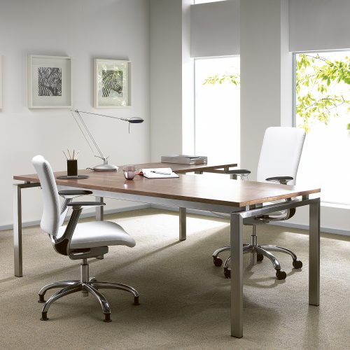 Home office with desk & chairs, two large windows - Furniture photography