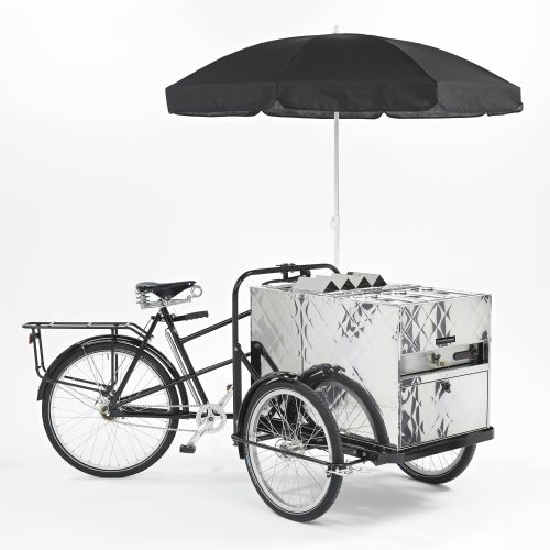 Chrome metal Hot dog car bicycle with black parasol on white background - product photography