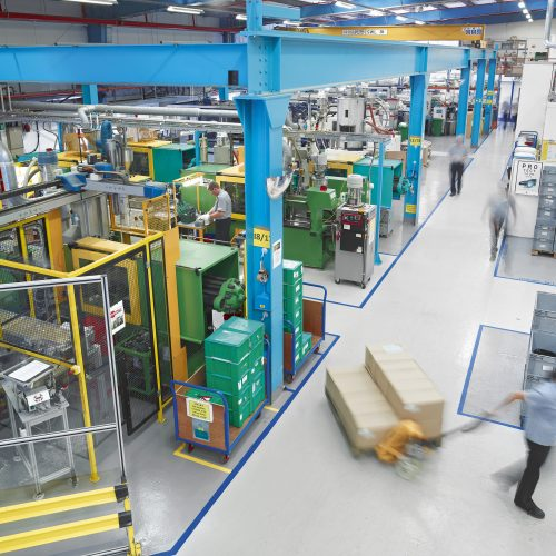 Overhead shot of Injection Moulding facility - Industrial photography