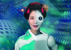 Computer generated image of Oriental lady robot concept photography