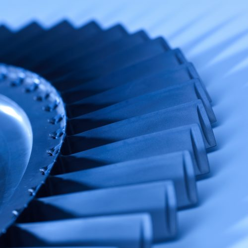Close up of airplane engine blades with blue filter concept photography
