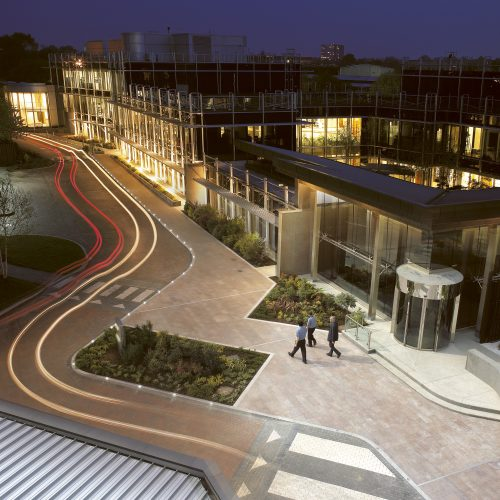 Aerial shot of Olympus Keymed Head office UK Day/Night shot - Exterior photography