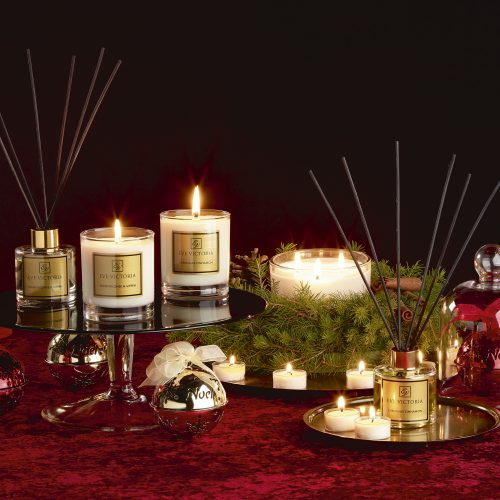 Christmas selection of scented Eve Victoria candles reed diffusers - product photography