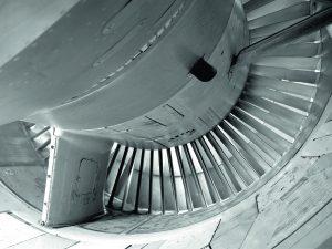 Titanium jet engine close up concept photography