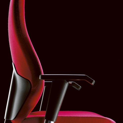 Closeup Red fabric office chair profile - Furniture photography