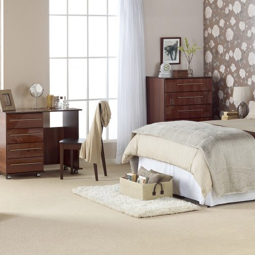 Room set built in studio, bedroom wardrobes, chests with window - Furniture photography