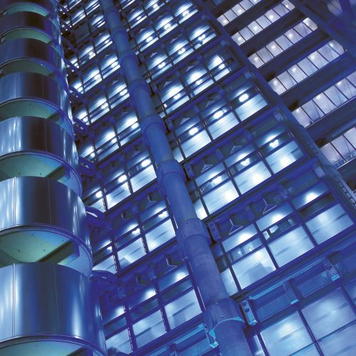 Close up shot of LLoyds building London at night - Exterior photography