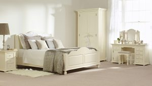 Light bright white room with French inspired bed & furniture, cream white bedding - Furniture photography