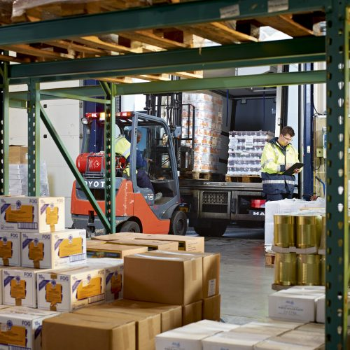 Ranson warehouse with forklift trunk and pallets - Industrial photography