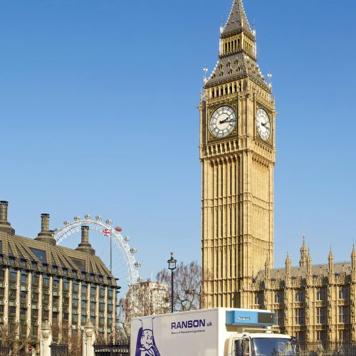 Ranson lorry in London, with Big Ben & London Eye - Exterior photography
