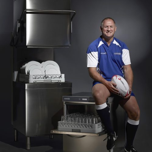 Richard Hill Rugby Maidaid dishwashing machines in the studio - People photography