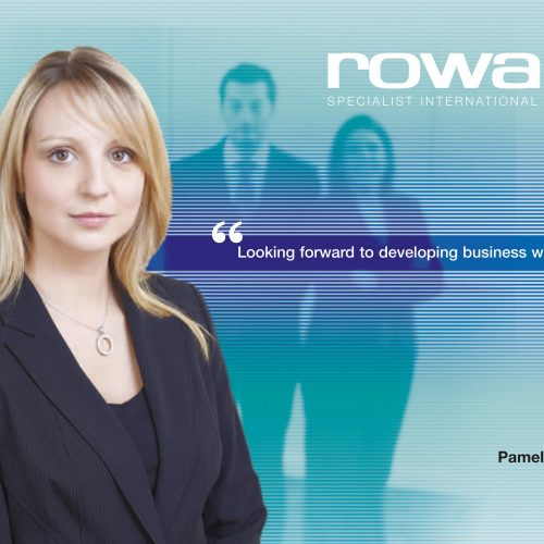 Blonde female staff portrait in front of business graphics - People photography