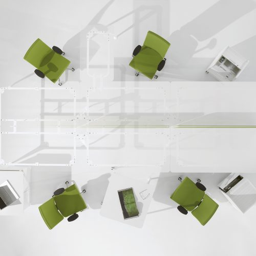 Overhead shot of see through desk with green chairs - Furniture photography