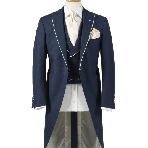 Navy morning suit with waistcoat on wooden mannequin - product photography