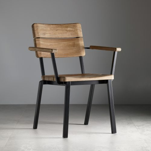 Single metal frame, wooden Titan garden chair on grey background - Furniture photography